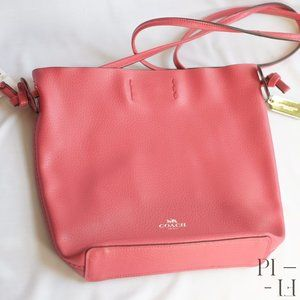 NWT red Coach handbag with pink suede inside